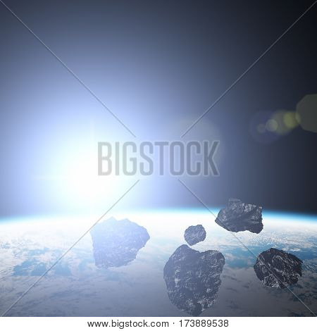 Asteroids, Earth and meteors in the Milky Way. 3D render / illustration.