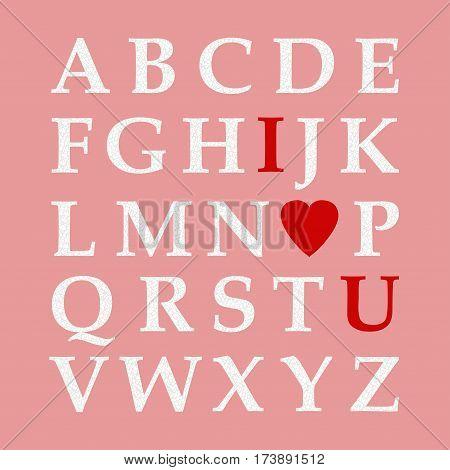 Valentine`s Day Alphabet Vector Illustration. Love ABC