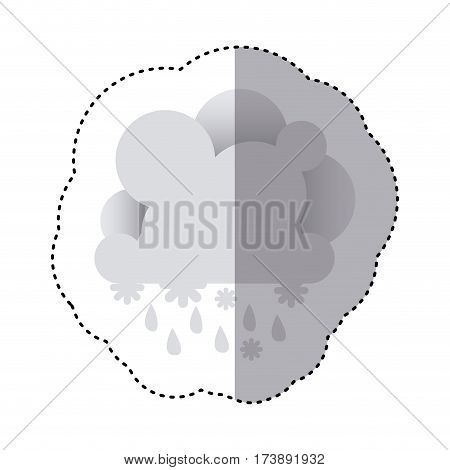 color sticker with cumulus of clouds with rain vector illustration