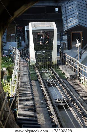 SALZBURG, AUSTRIA - APRIL 29, 2016: Cable railway fortress funicular to the Hohensalzburg castle Salzburg Austria