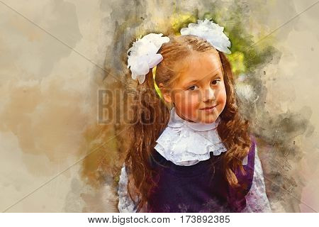 Little first-grader girl-student goes to school on knowledge day - September First. Student of elementary school in uniform with bows posing in autumn landscape shoulders bag with textbooks. Russia. Digital watercolor painting