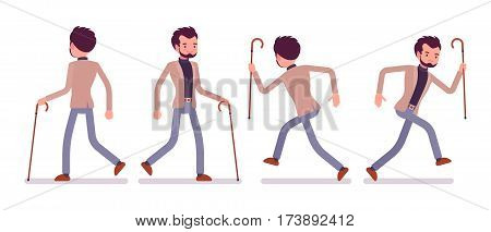 Set of young happy and unhappy dandy in smart casual wear, walking and runnig poses, in a hurry to the club, holding elegant cane, full length, front and rear view isolated against white background