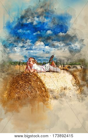 Cute young girl having fun on haystack. Stacks of straw - bales of hay rolled into stacks left after harvesting of wheat ears agricultural farm field with gathered crops rural. Digital watercolor painting