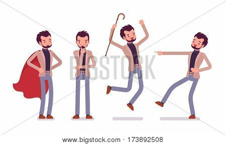Set of young happy smiling dandy in smart casual wear, showing positive emotions, holding elegant cane, jumping with joy, pointing and laughing, full length, front view isolated, white background