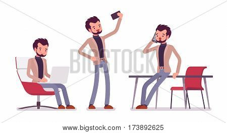 Set of young dandy in smart casual wear in office situations, coworking space, sitting and working with laptop, talking on phone near the desk, taking selfie, isolated, white background, full length