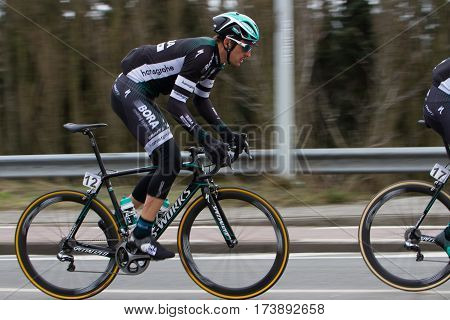 GHENT BELGIUM - FEBRUARY 25: Marcus Burghardt (GER) of Bora-Hansgrohe racing in the peleton at the Omloop het Nieuwsblad bicycle race on February 25 2017 in Ghent Belgium