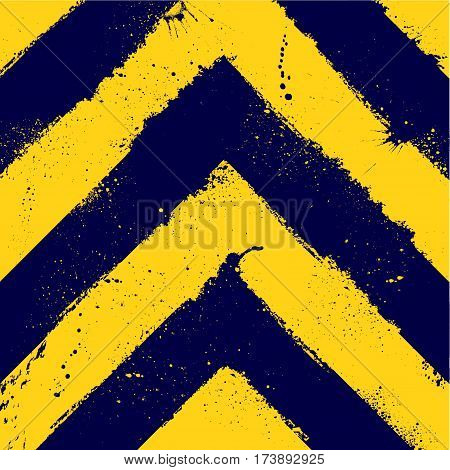 Abstract dark blue and yellow lines background with ink blots