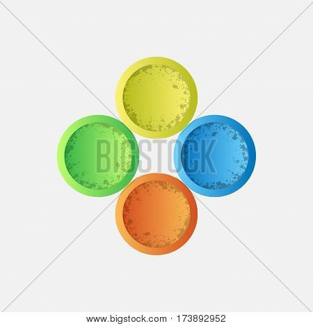 Four grunge circles different colors isolated on white