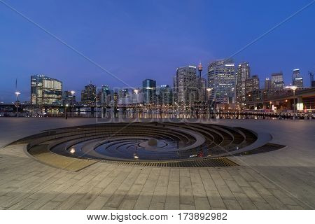 SYDNEY AUSTRALIA - February 28 2017 : Night scene of Darling Harbour adjacent to the city center of Sydney and also a recreational place in Sydney central business district