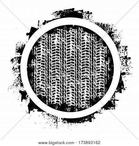Black tire track silhouettes with grunge circle
