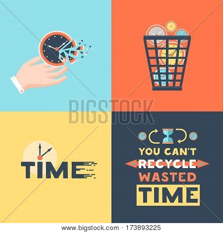 Wasted time concept 4 flat icons square  with useless activities  trash basket and clock symbols vector illustration