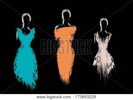 Silhouette of three women in evening dresses