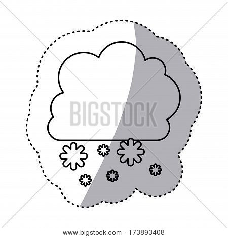 monochrome contour sticker with cumulus of clouds and snow fall vector illustration