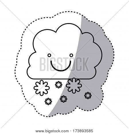 monochrome contour sticker with smiling cumulus of clouds and snow fall vector illustration