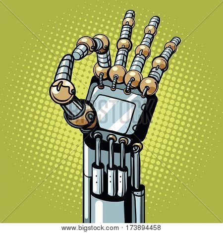 Robot OK okay gesture hand pop art retro vector illustration. Prosthetics and medicine
