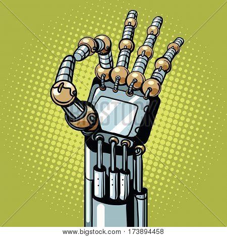 Robot OK okay gesture hand pop art retro vector illustration. Prosthetics and medicine