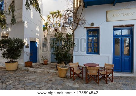 CHORA, GREECE - FEBRUARY 01, 2017: Chora village on Amorgos island early in the morning on February 01, 2017.