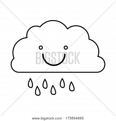 monochrome contour of smiling cloud with drizzle vector illustration