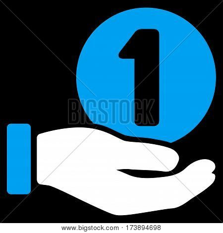 One Coin Payment Hand vector pictograph. Illustration style is a flat iconic bicolor blue and white symbol on black background.