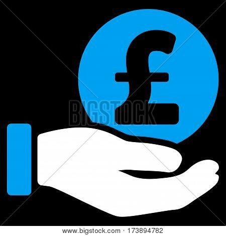 Pound Coin Payment Hand vector icon. Illustration style is a flat iconic bicolor blue and white symbol on black background.