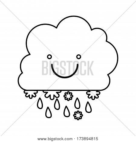 monochrome contour with smiling cumulus of clouds with rain vector illustration