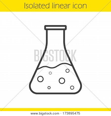 Chemical reaction linear icon. Thin line illustration. Medical lab beaker. Potion bottle. Laboratory flask contour symbol. Vector isolated outline drawing