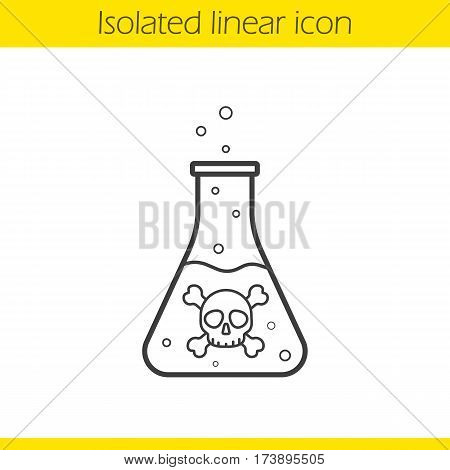 Poison bottle linear icon. Thin line illustration. Boiling poisonous liquid with crossbones and bubbles. Contour symbol. Vector isolated outline drawing