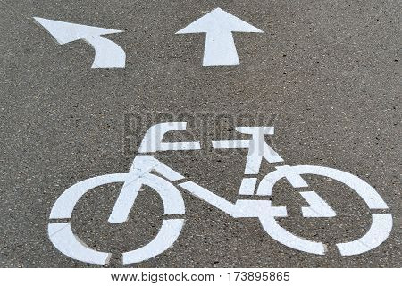 Mark shows turning possibilities of a cycle path