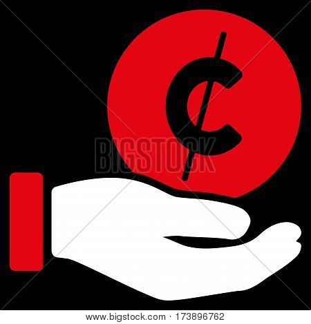 Cent Payment Hand vector pictograph. Illustration style is a flat iconic bicolor red and white symbol on black background.