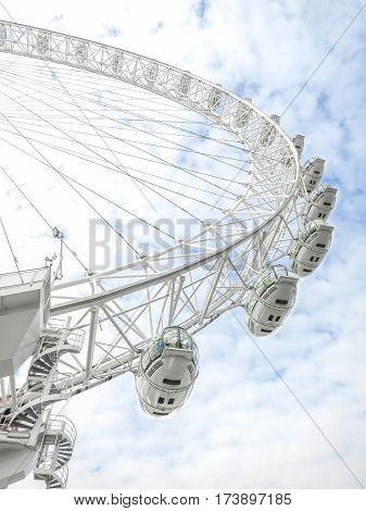The London Eye is a giant Ferris wheel in London, United Kingdom.