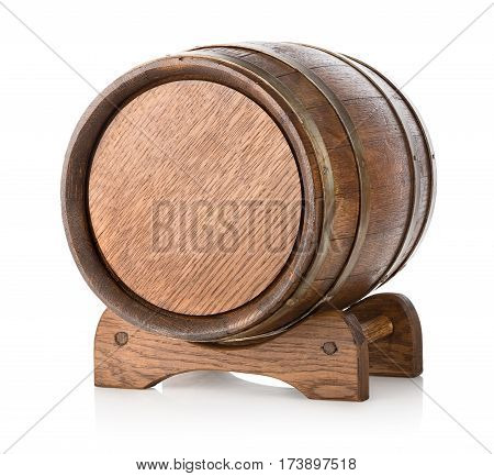 Wooden barrel on stand isolated on a white background