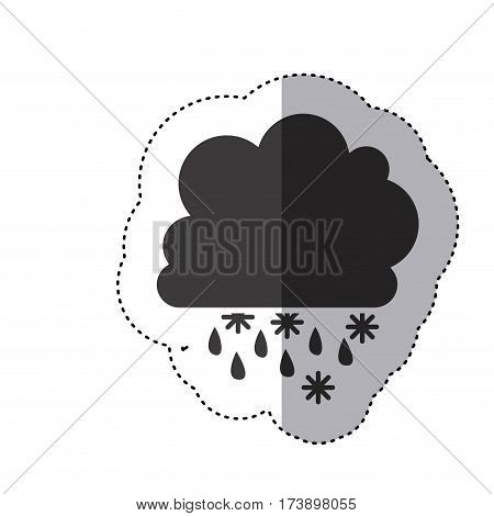 gray silhouette sticker with cumulus of clouds with rain vector illustration