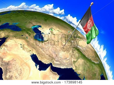 Afghanistan national flag marking the country location on world map. 3D rendering, parts of this image furnished by NASA