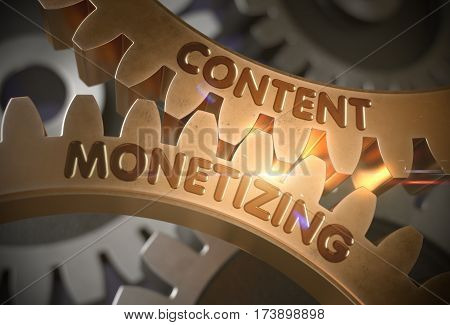 Content Monetizing - Illustration with Glowing Light Effect. Content Monetizing Golden Metallic Cog Gears. 3D Rendering.