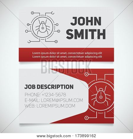 Business card print template with computer virus bug logo. Easy edit. Programmer. Cyber security. Stationery design concept. Vector illustration