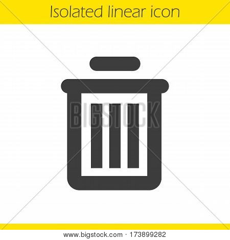 Trash can linear icon. Dustbin thick line illustration. Wastebasket contour symbol. Vector isolated outline drawing