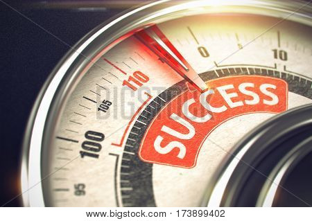 3D Illustration of a Gauge with Red Needle Pointing the Text Success. Business or Marketing Concept. Success Rate Conceptual Meter with Text on Red Label. Business Concept. 3D Render.