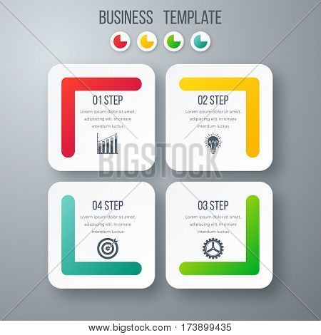 Infographics template four options with square. Can be used for workflow layout, diagram, number options, step up options, web design, presentations
