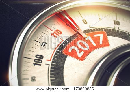 Shiny Metal Speedmeter with Red Punchline Reach the 2017. Scale with Red Needle Pointing the Message 2017 on Red Label. 3D Illustration.
