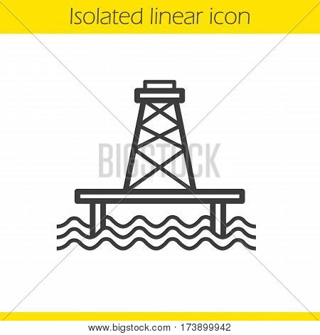 Off shore sea well linear icon. Thin line illustration. Oil production tower contour symbol. Vector isolated outline drawing