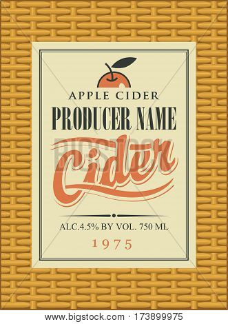 Cider label in square frame on the basket background with apple