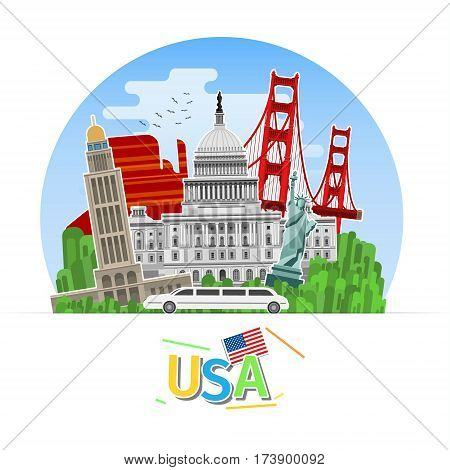 Concept of travel or studying English. American flag with landmarks. Flat design, vector illustration