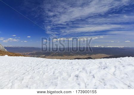 Snow and clear blue sky from Blue Moon Valley also called Shika Snow Mountain is located in the southwestern Shangri-La (Zhongdian) of Yunnan China.
