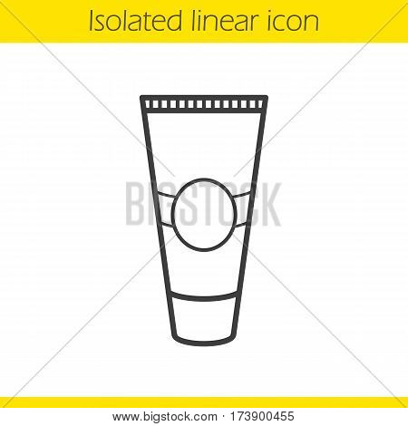 Cream tube linear icon. Toothpaste thin line illustration. Aftershave cream contour symbol. Vector isolated outline drawing