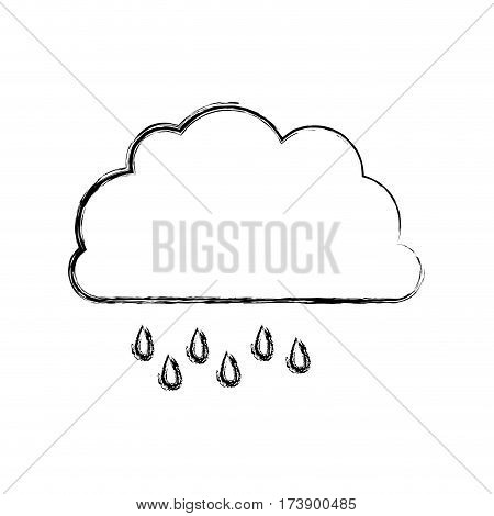monochrome blurred contour of cloud with drizzle vector illustration