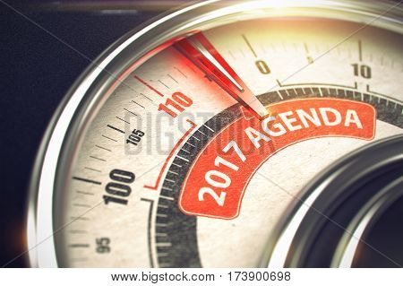 2017 Agenda - Conceptual Manometer with Red Text on It. Horizontal image. Metal Compass with Red Punchline Reach the 2017 Agenda. 3D Illustration.