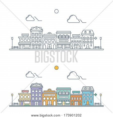 thin line town landscape concept. linear cityscape. small town street scene with store hotel pizzeria boutique coffee shop pharmacy. flat outline style. isolated on white background. vector illustration