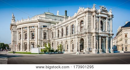 Beautiful View Of Historic Burgtheater (imperial Court Theatre) With Famous Wiener Ringstrasse In Vi