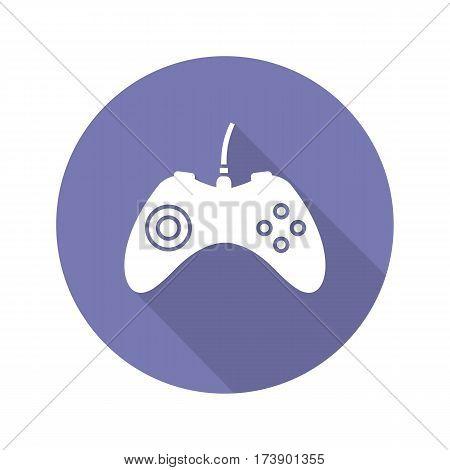 Gamepad flat design long shadow icon. Joystick. Vector silhouette symbol