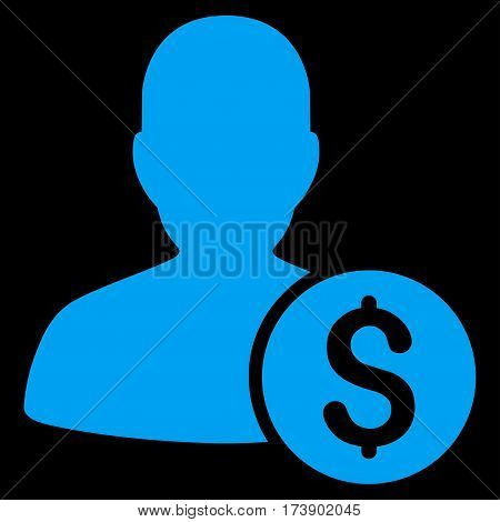 Investor vector icon. Illustration style is a flat iconic blue symbol on black background.